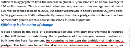 Extract from the World Energy Outlook WEO 2016, page 3, Source : International Energy Agency (IEA)