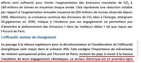 Extrait du World Energy Outlook WEO 2016, page 3, Source : Agence Internationale de l'Energie (AIE)