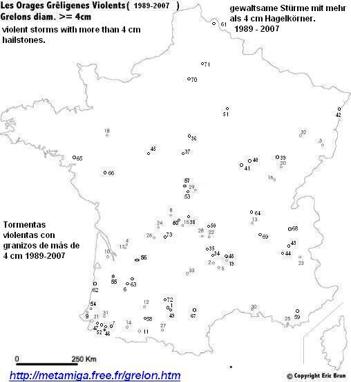 The haily events with hailstones of more of 4 cm in France 1989-2006