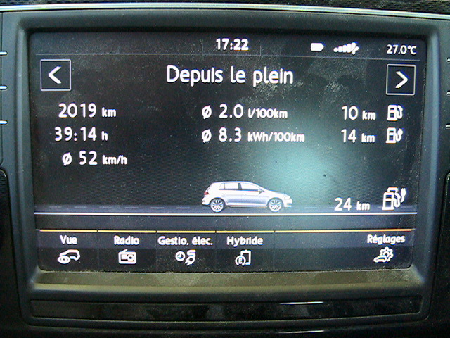 2019 km driven km with only one full tank of 40L and 2L/100km of E85 : Golf GTE 85 PLUS, hybrid vehicle Multifuel - Flexfuel by SYCOMOREEN