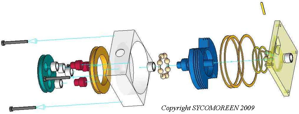 Exploded view of an Anti-Friction Epicyclic Rotary Valve (Soupape Anti-Erosion à Rotations Epicycloïdales SAERE)