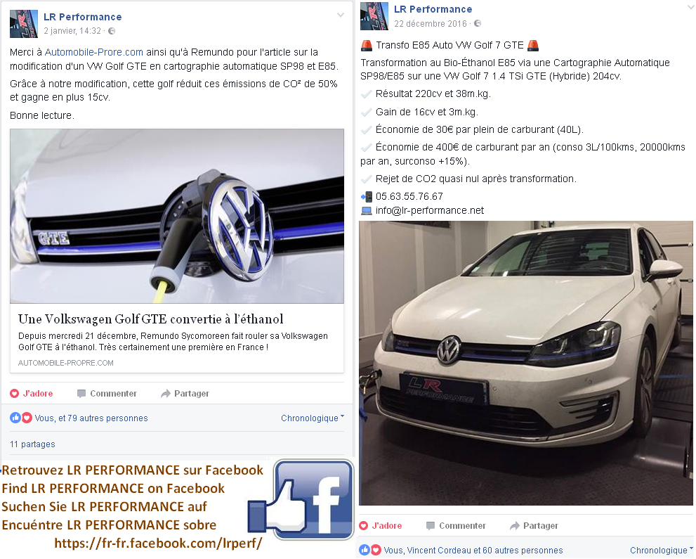 Capture d'écran de LR PERFORMANCE sur Facebook pour la Golf GTE85 PLUS de SYCOMOREEN