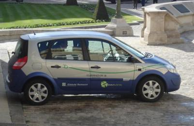 The Renault Scénic Cleanova III in 2007 ; famous hybrid vehicle which has been used by Jean Louis BORLOO, previous Minister of the Ecology in France