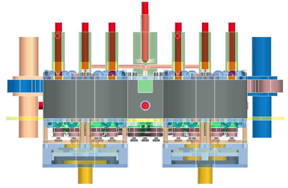 Side of an assemply 1 POGDC 4 MPRBC : all the rooms are managed with variable compression ratio and wedging of the valves