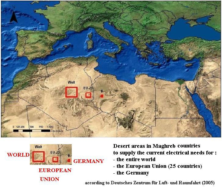 Desert areas in Magreb countries to supply some current electrical needs